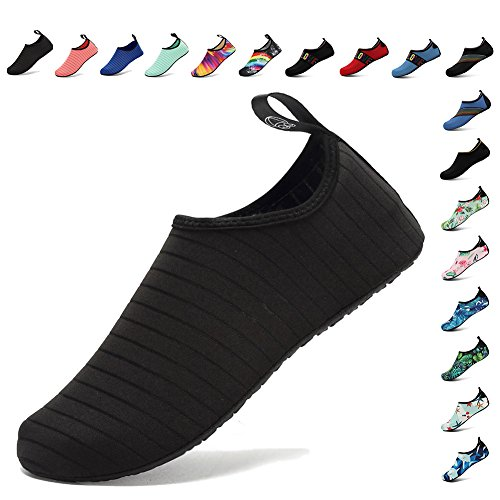 Fanture Lightweight Women and Men Aqua Water Shoes Quick-Dry Breather Sports Skin Barefoot Anti-Slip Multifunctional L.black