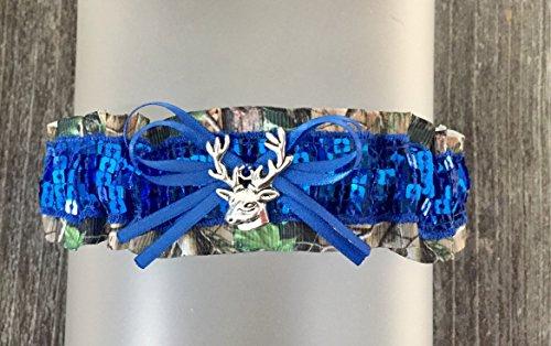 Sparkle Camo (Sparkle Camouflage Royal Blue Sequin Camo Wedding Bridal Garter Keepsake - Deer Head Charm)