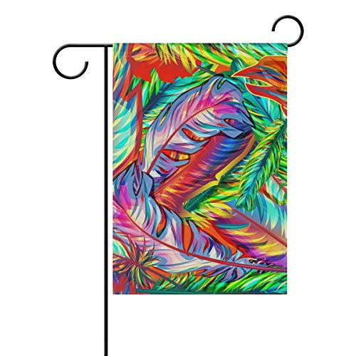 HOOSUNFlagrbfa Colorful Exotic Feathers Decorative Double Sided Garden Flag 12x18 inch