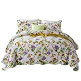 Artextile Yellow and Purple Flowers Print Reversible 3-Pieces Quilt Set Pastoral Patchwork Coverlet Bedspread with 2 Pillow Cover ,Queen Size, 90'' x 98''