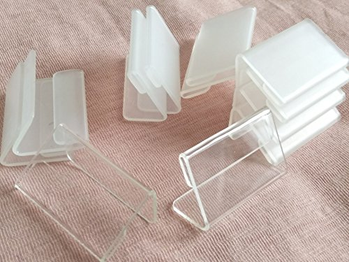 Plastic Holder Clear Label Cover (RUIXUAN Set of 30PCS Mini Sign Display Holder, L Shape Clear Acrylic Price Card Tag Label Stand , Counter Top Stand 4x2cm)