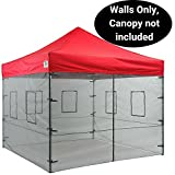Impact Canopy 10 x 10 Mesh Side Wall Kit with Service Windows, 4 Walls Only, Black Mesh