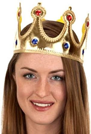 RENAISSANCE MEDIEVAL PRINCE KING COSTUME JEWELED CROWN HAT GOLD ADULT CHILD KIDS
