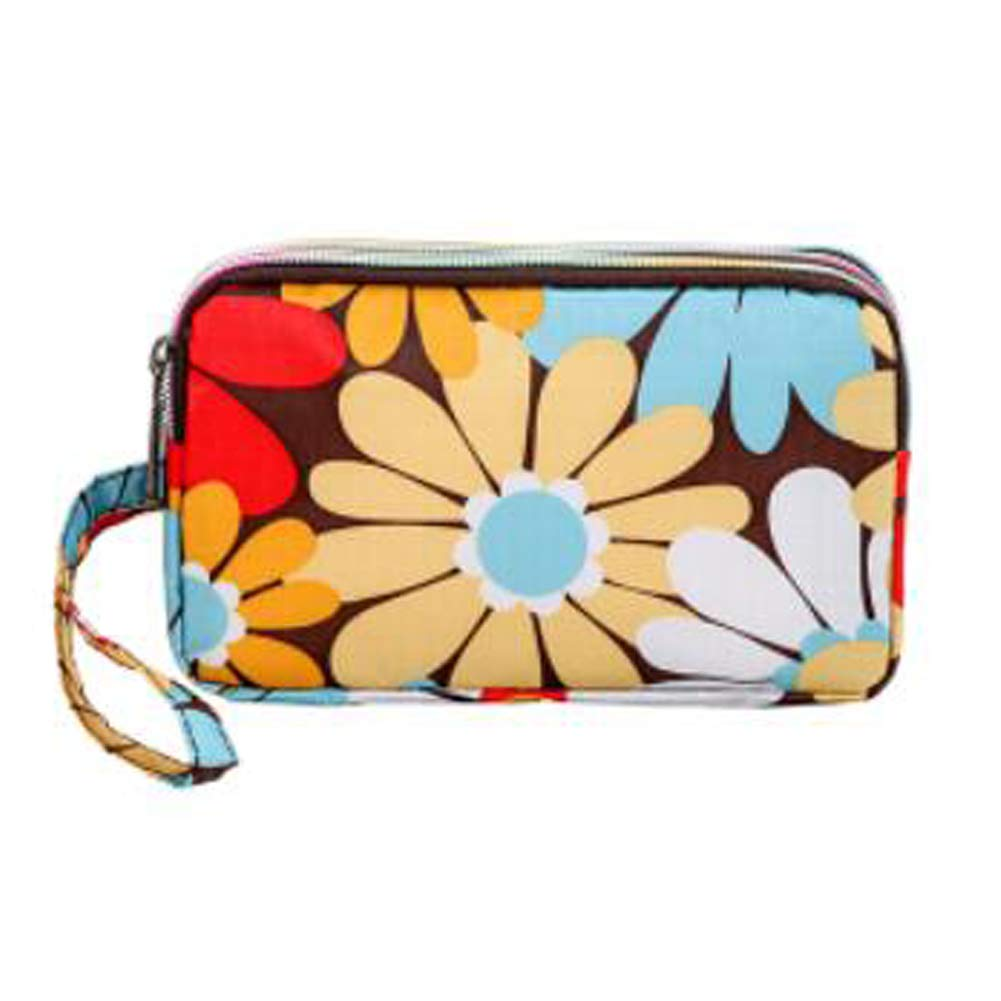 Ladies Fashion Small Card Case Wallet Change Coin Purse Pouch Bag with Zipper, Colorful Flowers