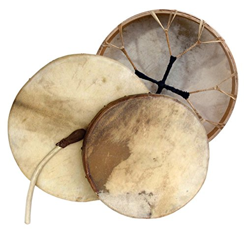 Shaman drum round 16'' with goat skin, Frame Drum, handmade by Terre