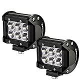 LED Light Bar 2PCS 18W Spot Beam 30 Degree LED Pods LED Work Lights Driving Fog Lights for Off-road, Truck, Car, ATV, SUV, Jeep Waterproof