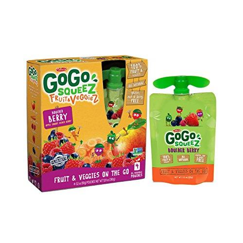 GoGo squeeZ Fruit & VeggieZ, Apple Carrot Mixed Berry, 3.2 Ounce Portable BPA-Free Pouches, Gluten-Free, 4 Total Pouches by GoGo SqueeZ