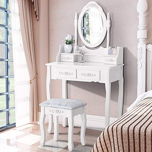 Mecor Dressing Table with Oval Mirror,Vanity Table Set/Cushoined Stool Bedroom Wood Makeup Table with 4 Drawers White
