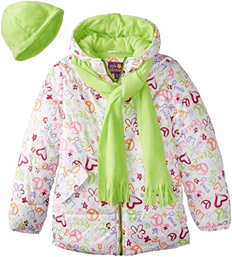 Pink Platinum Big Girls'  Heart and Peace Puffer with Hat and Scarf, White, 10/12 (Heart Pink Peace)