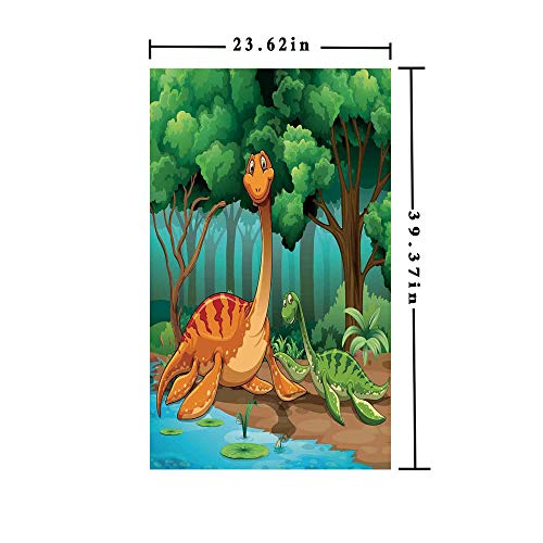 Window Films Privacy decorate 3D No Glue Static,Dinosaurs in a Tropical Forest Jurassic Dino Cartoon Children Art Craft Theme Print Decorative,W15.7xL63in,No Glue Static Cling Glass Sticker with