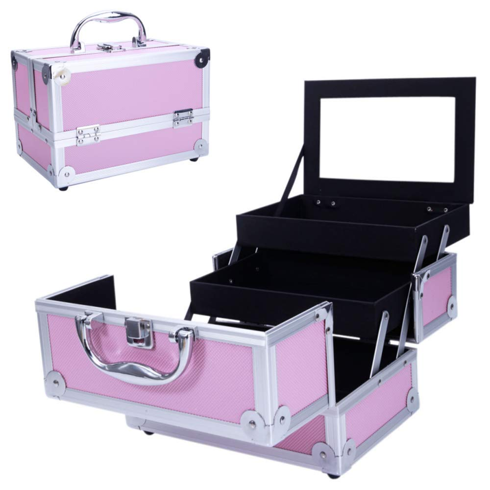 "Festnight Makeup Train Case with Mirror Lockable Jewelry Box Extendable Trays Folding Aluminum Cosmetic Organizer 9"" x 6"" x 6"" (L x W x H) Pink"