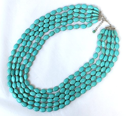(Blue Turquoise Stone 5 Row Multi Beaded Necklace Strand Statement Necklace)