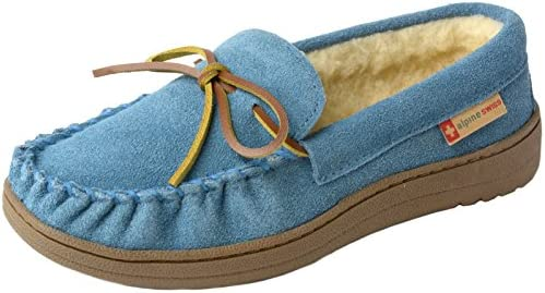alpine swiss Shearling Moccasin Slippers product image