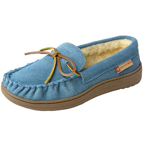 alpine swiss Sabine Womens Suede Shearling Slip On Moccasin Slippers Blue 7 M US
