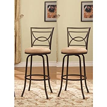 Bronze Finish Half Circle Back Adjustable Metal Swivel Counter Height Bar Stools Set of 2