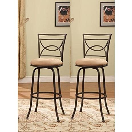 Bronze Finish Half Circle Back Adjustable Metal Swivel Counter Height Bar Stools (Set of 2  sc 1 st  Amazon.com : metal stools with back - islam-shia.org