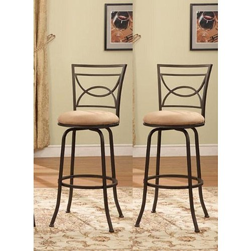 Amazon Bronze Finish Half Circle Back Adjustable Metal Swivel Counter Height Bar Stools Set of 2 Kitchen Dining
