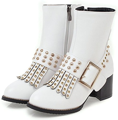 Easemax Women's Retro Studded Side Zip Up Round Toe Mid Chunky Heeled Short Ankle High Boots White AHRi4