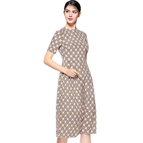 Cotylédons Women`s Robes À Manches Courtes Robe De Soie Ramassent Imprimé Cou Beige