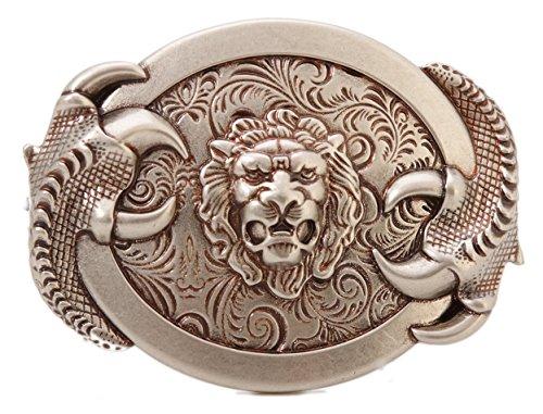 Gurscour Fashion Western Antique Silver Engraved Flower 3D Lion Belt Buckle