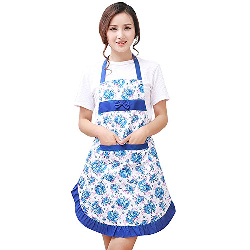 Myonly Women's Lace Apron with Pockets, Adjustable Lovely Work Original Cotton Kitchen Cooking Bib Aprons Flower Style Dress (Blue)