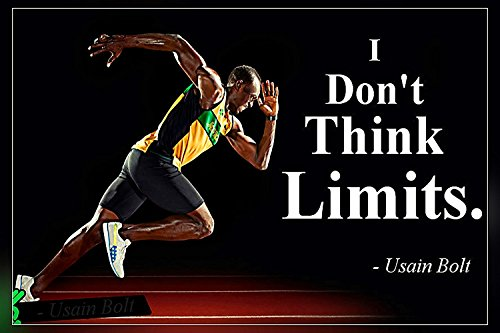 A-ONE POSTERS I Don't Think...Usain Bolt's Motivational Quote Poster Print 12X18 inch (Rolled) (Best Of Usain Bolt)