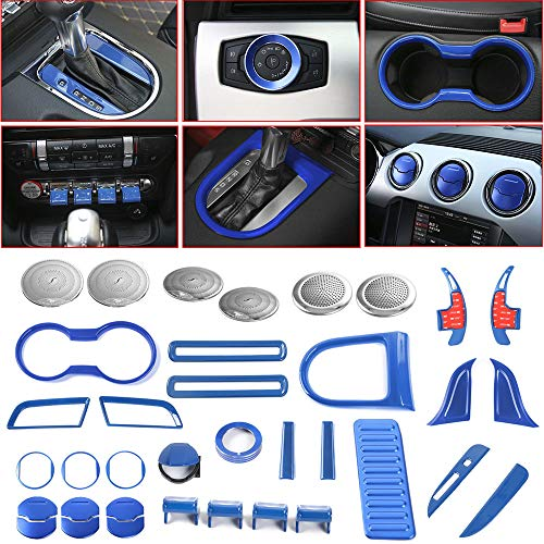 Voodonala Blue Interior Accessories Decorative Trim Kits for Ford Mustang 2015 2016 2017 2018 (36 PCS)