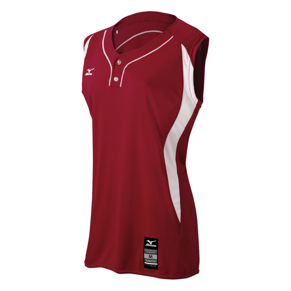 MizunoレディースElite 2ボタンゲームJersey – Sleeveless B01JF1P47I MEDIUM (M)|Maroon-White Maroon-White MEDIUM (M)