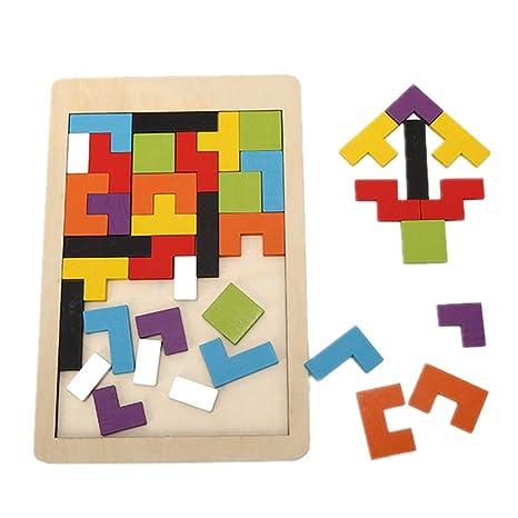 DOTBUY Puzzle de Madera 3 años, Colorido de Madera Geometría Bloque de Construcción Inteligencia Regalo