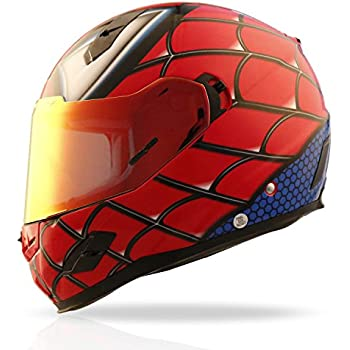 NENKI NK-856 Full Face Spiderman Motorcycle Helmet For Adult and Youth Street Bike with Iridium Red Visor and Sun Shield DOT Approved (Large)