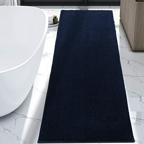 Lifewit Bath Runner Rug Chenille Area Mat Rugs for Bathroom Kitchen Entryway Bedroom Machine Washable Water Absorbent with Non-Slip Rubber Collection Shag Rug, 2'2 x 5'11, Navy Blue (Rugs Kitchen Runner Blue)