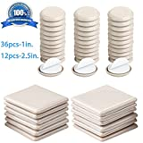 Liyic 48 Combo Pack Self-Stick Furniture Sliders for Carpet,12PCS 2.5in.Square Self Adhesive Furniture Mover Glides & 36PCS 1in. Furniture Moving Pads Furniture Glider Carpet Slider Floor Sliders