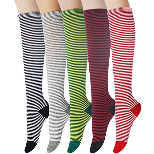 Sockstheway Womens Casual Knee High Tube Socks with Colorful Stripe Multi-Line Pattern (SET, 5Pairs)