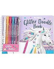 Depesche 8590 Miss Melody Glitter Doodle Book, kleurboek met 6 glitterstiften en stickers, ca. 22,5 x 16,5 cm groot, kleurboek met voorgedrukte paardenmotieven, kleurrijk