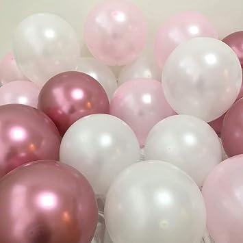 Amazon.com: Globos de fiesta de 11.8 in, color rosa y blanco ...