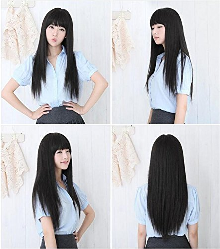 Price comparison product image ATOZWIG Sexy Korean Ladies Black Daily Hair Wigs Long Straight Kanekalon Fibre Synthetic Peruca Cosplay Wigs