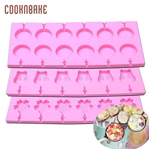 Silicone Lollipop Molds candy Chocolate lollipop mold Round Design Cake Modle siliconen gummy mould Flower ox shape 12 holes