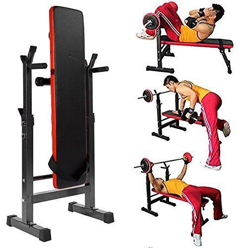 Zerone Banco de pesas plegable, multifunción, para fitness, ejercicio, fuerza, entrenamiento con barra ajustable para mancuernas, gimnasio en casa, ...