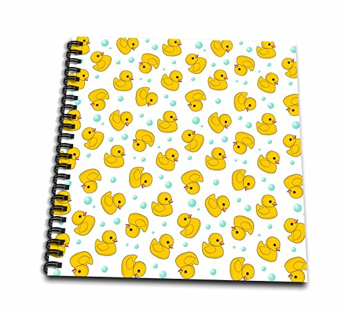 3dRose db_112951_1 Cute Rubber Duck Pattern-Yellow Ducks-Kawaii Ducky Duckie-Duckies and Soap Bubbles on White-Drawing Book, 8 by 8-Inch
