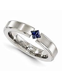 Edward Mirell Titanium Satin Finish Tension Set Blue Sapphire Gemstone 4mm Wedding Band