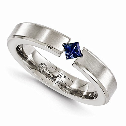 Edward Mirell Titanium Satin Finish Tension Set Blue Sapphire Gemstone 4mm Wedding Band - Size 12 by Edward Mirell