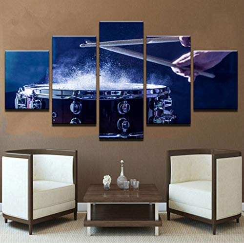 sansiwu X Wall Art Canvas Paintings Modular Home Decor Hd Prints 5 Pieces Drums Pictures Musical Instruments Posters Living Room ()