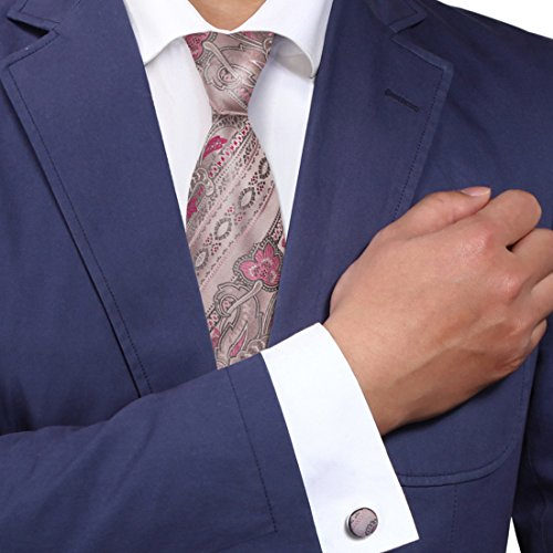Pink Paisleys men in suits and ties lightpink pattern thank you gifts ties cufflinks set - Suit Male In