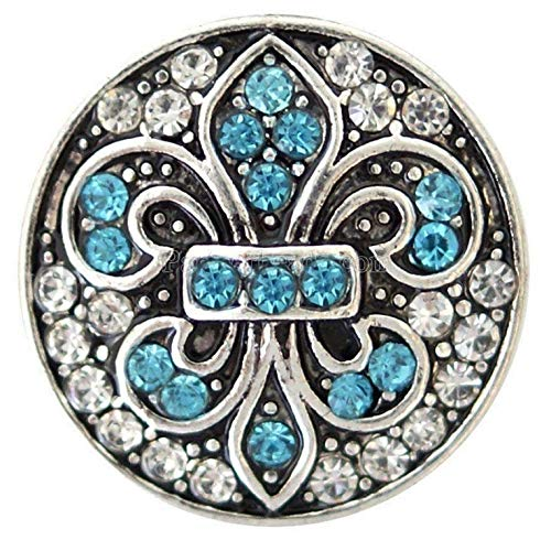 Rockin Angels Blue White Fleur De Lis Saint 20mm Snap Interchangeable Charm for Ginger Snaps
