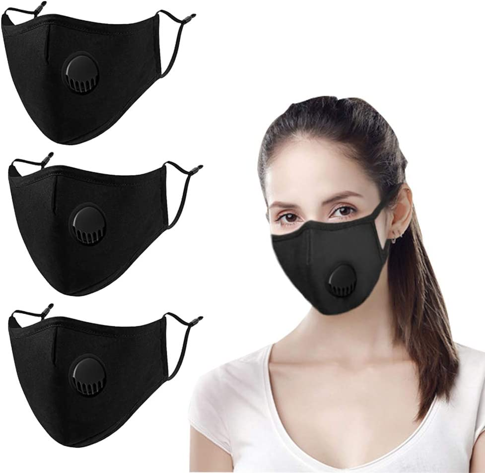 Unisex Reusable Face Protection Washable Face With Filter 8 Face Protection 16 Filters,Reusable Cotton Fabric black