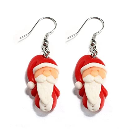 Polymer Clay Christmas Earrings.Amazon Com 1set Animal Handmade Dangle Ear Stud Santa Claus