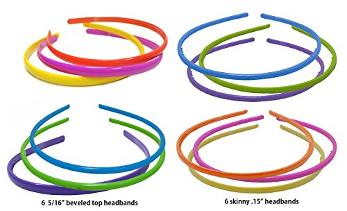 Dozen Pack - 12 Bright Color Plastic Headbands OD86151-8903-D -