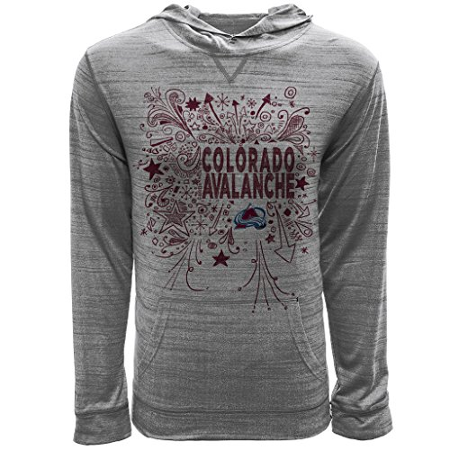 Levelwear LEY9R NHL Colorado Avalanche Youth Unisex Jr Anchor Hoody Scribbled Long Sleeve Hooded Tee, YXL, Heather Pebble