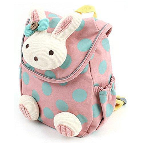 Durable Cute 3D Animal Rabbit Anti-lost Baby Backpack Toddler Kids School Bag (Pink)