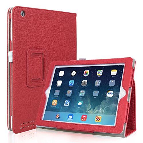 iPad 2 / iPad 3 / iPad 4 Case, GARUNK Matte Leather Folio Stand Smart Case with Auto Wake / Sleep and Full-body Protection for Apple iPad 2, iPad 3 & iPad 4th Gen with Retina Display, #02 Solid Red